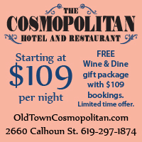 Ad and link for special pricing at Cosmopolitan Hotel and Restaurant